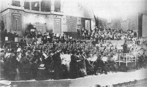 Gustav Mahler rehearses his Eighth Symphony. Musikhalle, Munich, August 1910