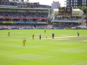 Lord's, 2005 (the first day of the Ashes). The photo faces directly down the slope, across the pitch.