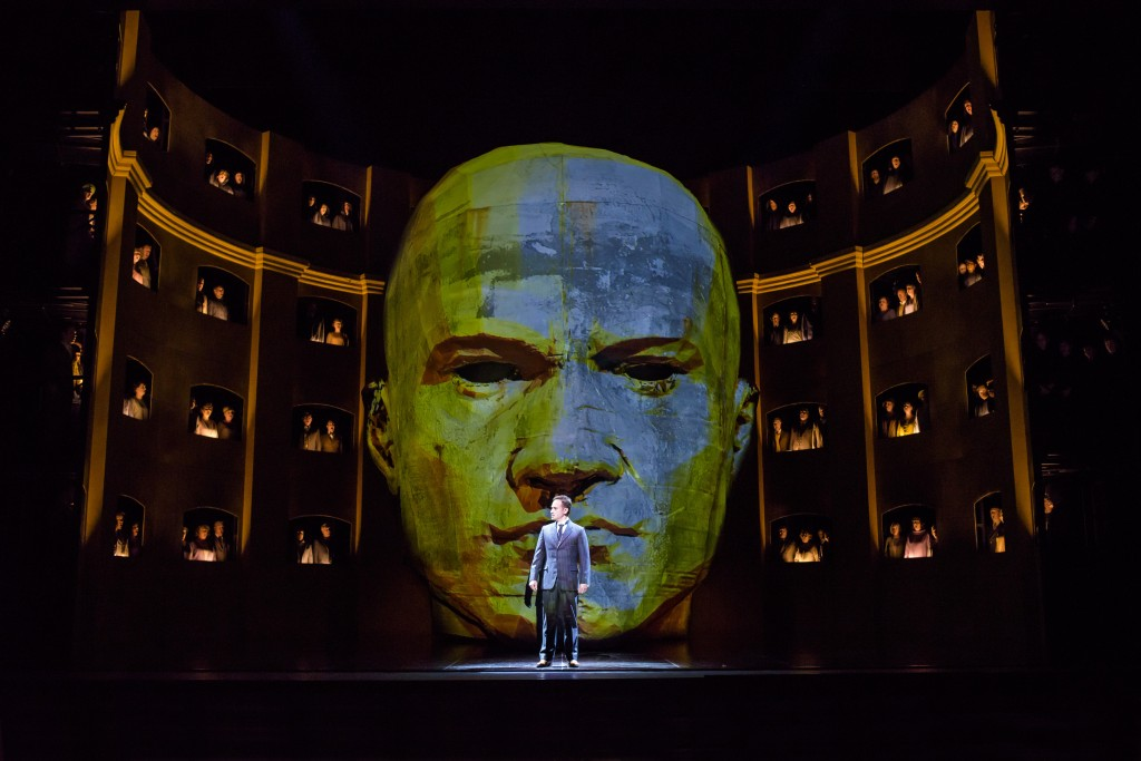 Uneasy lies the head: Mariusz Kwiecień (King Roger) and the ROyal Opera Chorus in Kasper Holten's new production of Szymanowski's opera. Photograph by Bill Cooper © ROH